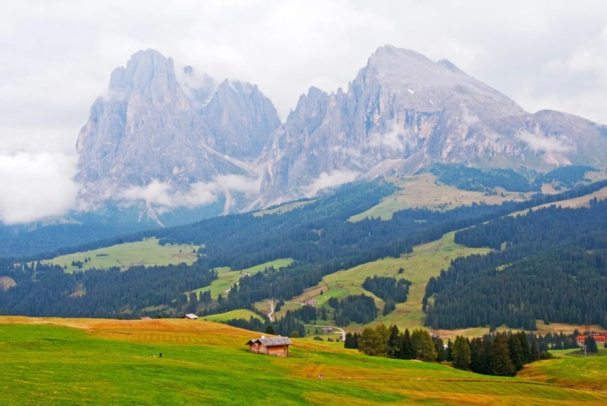 Hiking in the Alpe di Suisi region of the Dolomites, Italy
