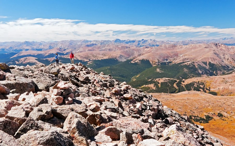 Some folks snapping pics near the summit of Mt Bierstadt, Colorado