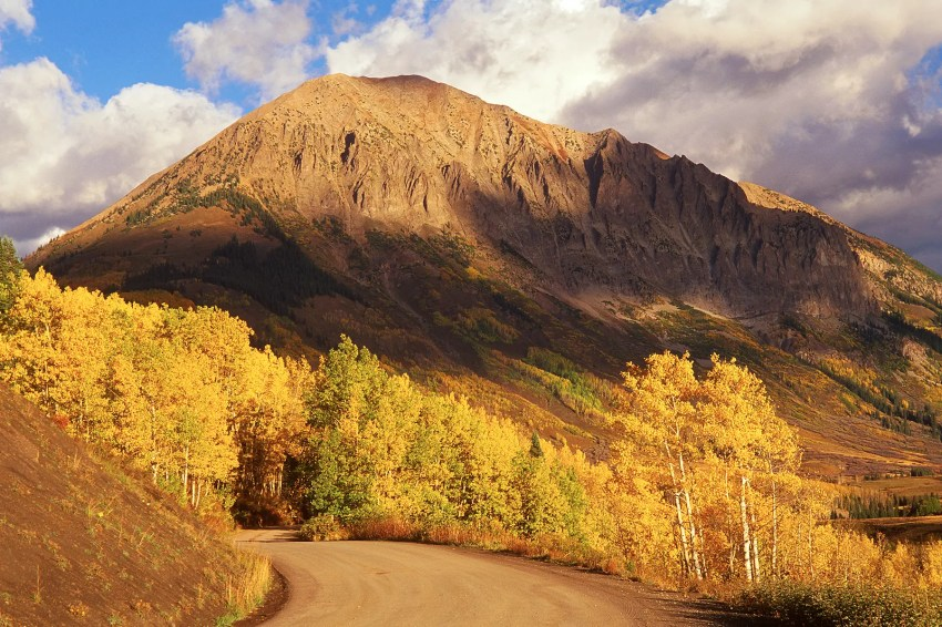 Gothic Mountain and autumn foliage, Crested Butte, Colorado