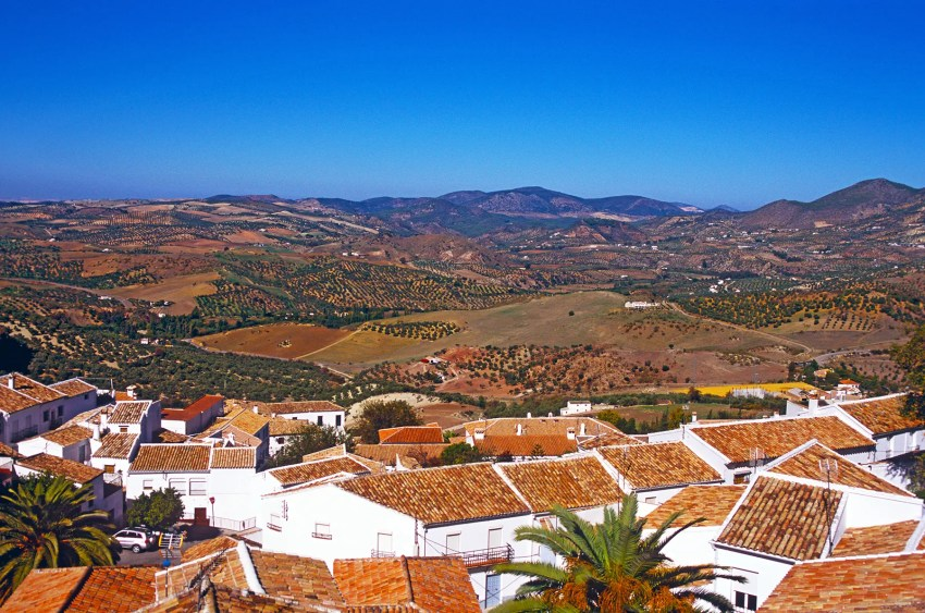 View of the hills surrounding Zahara de la Sierra, Andalucia, Spain