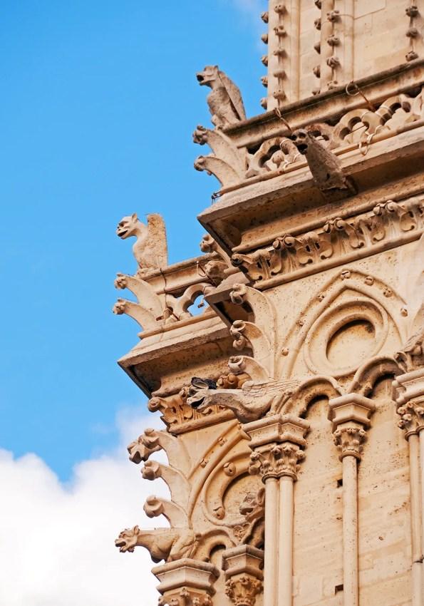 Exterior of Notre Dame with its gargoyles, Paris, France