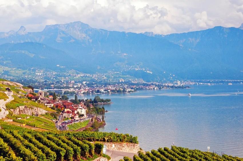 Lake Geneva near the town of St Saphorin, Switzerland