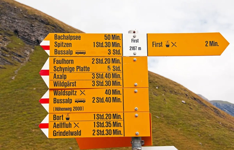 sign in Swiss Alps