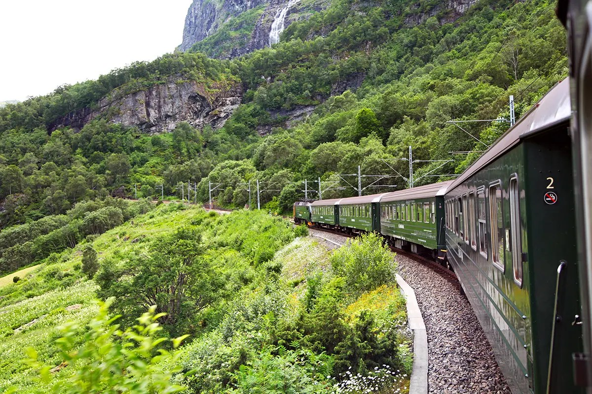 train in fjord country