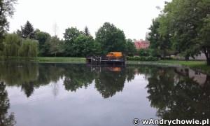 Budowa zejścia do kajaków na stawie w parku miejskim w Andrychowie