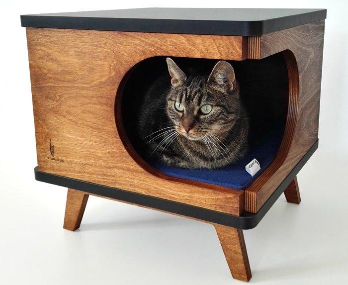 table marron intégrée niche chat