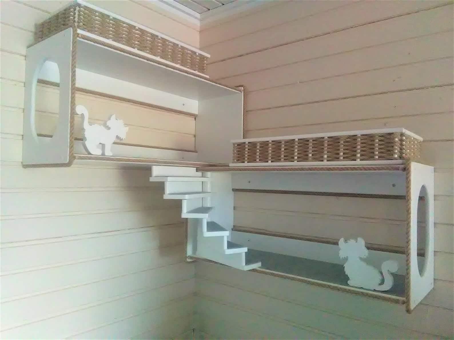 arbre a chat mural design compartiment escalier