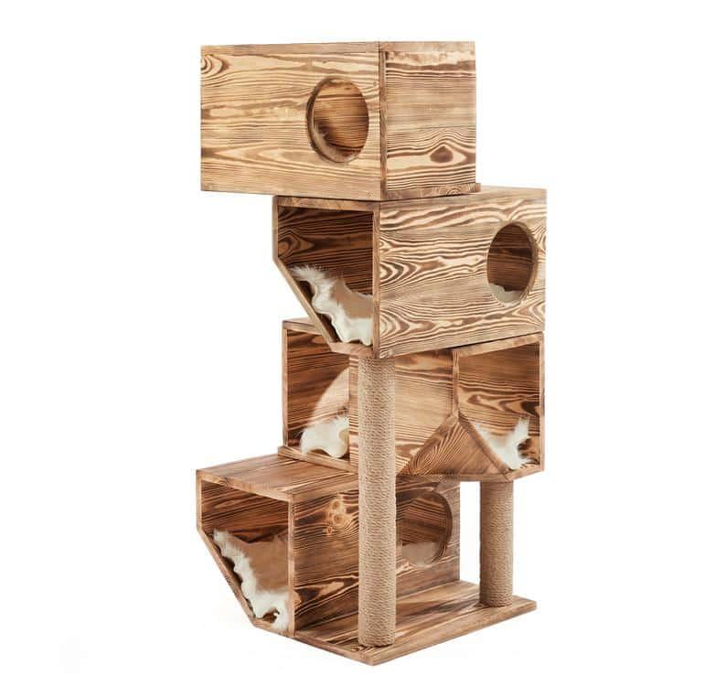 arbre a chat en cube bois pin
