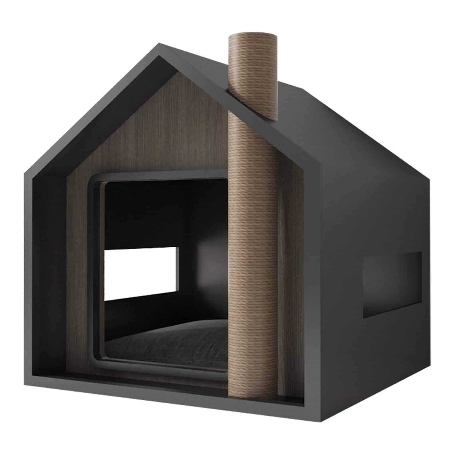 maison niche toit triangulaire cheminee griffoir