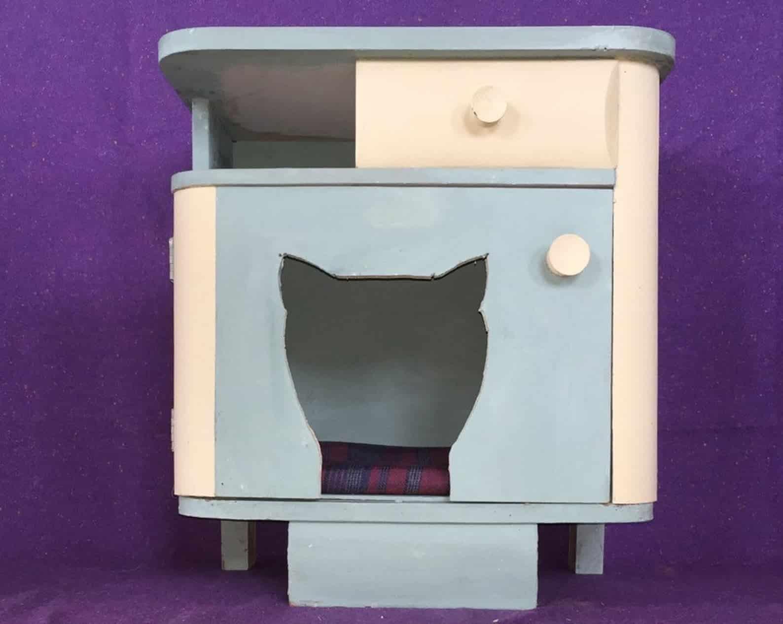 table chevet niche chat tiroir rangement
