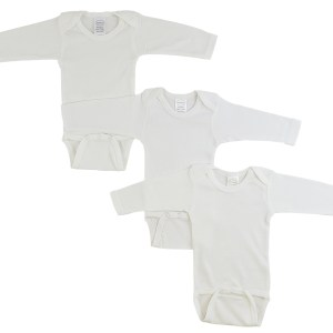 Bambini Long Sleeve White Onezie 3 Per Pack