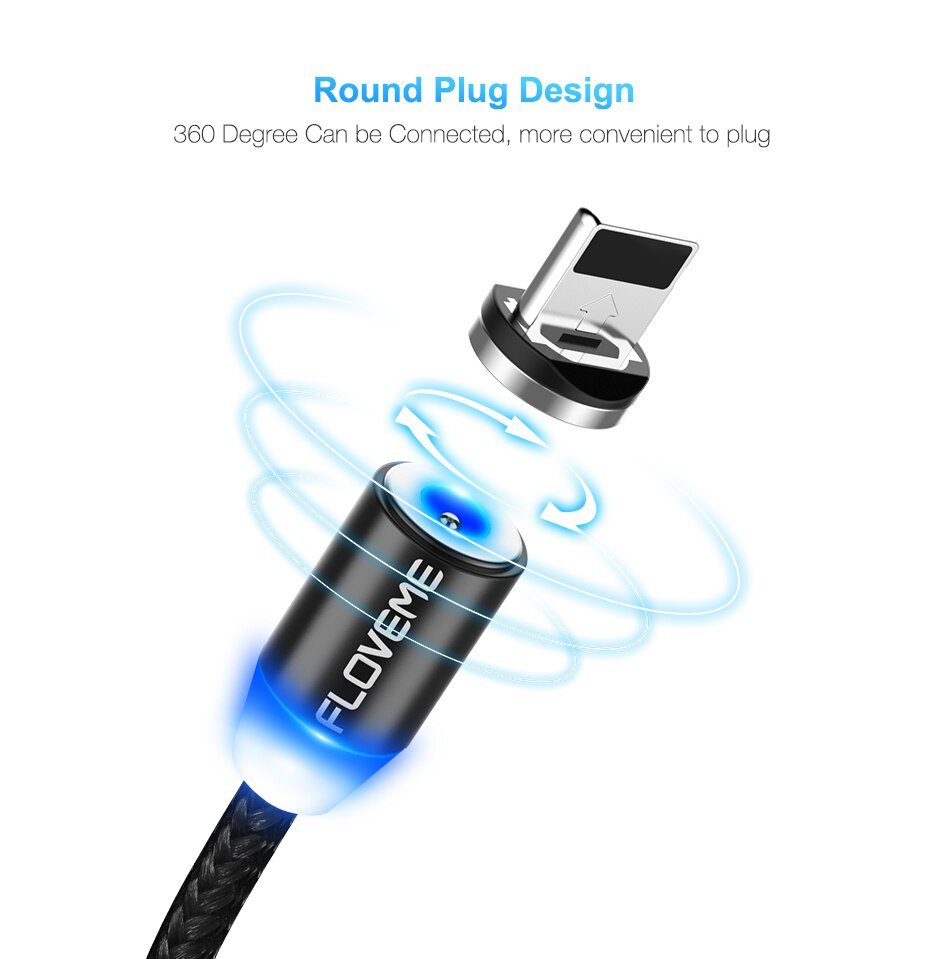 1M Magnetic Design Micro USB Charging Cable