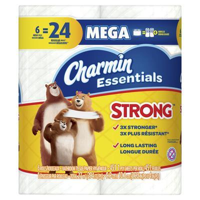 Charmin Essentials Strong Toilet Paper 6 Mega Rolls 451ct/roll - 6pc/3pk