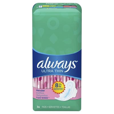Always Ultra Thin Slender Pads W/Wings Unscented - 36ct/6pk