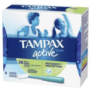 Tampax Pearl Active Tampons Super Unscented - 36ct/6pk