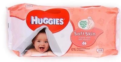 HUGGIES Baby Wipes SOFT Pack Soft Skin w/vit. E - 56ct/10pk