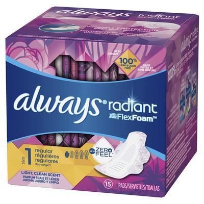 Always Radiant Flex Foam RGL SZ1 Clean SCN w/Wng - 15ct/12pk