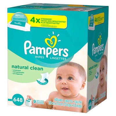 Pampers Baby Wipes NATURAL CLEAN T/BAE - 648ct/1pk