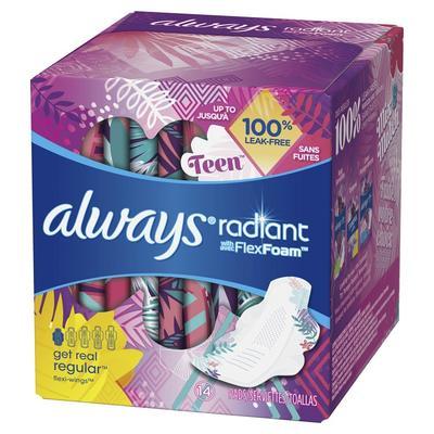 Always Radiant Teen Pads Regular UNSTD w/Wings - 14ct/12pk