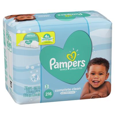 Pampers Baby Wipes Complete Clean Scented 3X Refill - 216ct/4pk
