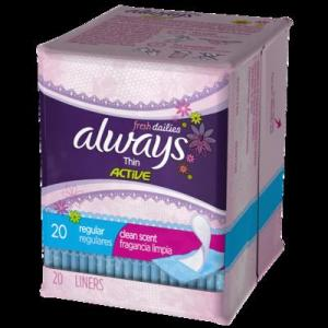 Always Daily Liners Thin SCENTED USA - 20ct/24pk