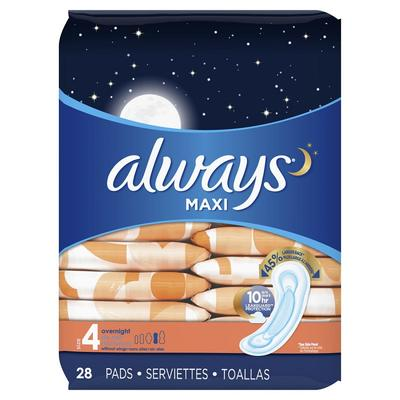 Always Maxi Size 4 Overnight Pads Unscented - 28ct/6pk