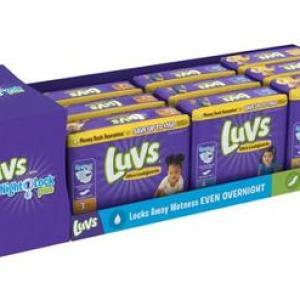 Luvs JUMBO 2X Size 3-5 Display - 9ct (Size 3 - 34ct/3pk, Size 4 - 29ct/3pk, Size 5 - 25ct/3pk)