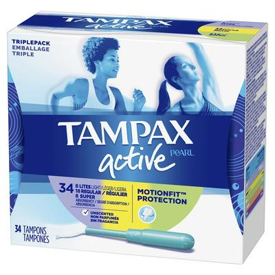 Tampax Pearl Active Tampons Triple-Pack Light Regular Unscented - 34ct/6pk