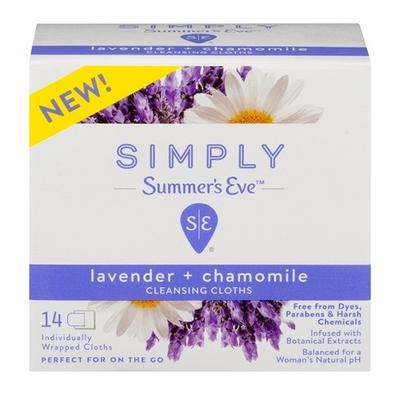 Summers Eve Simply Cleansing Cloths Lavender+Chamomille - 14ct/12pk