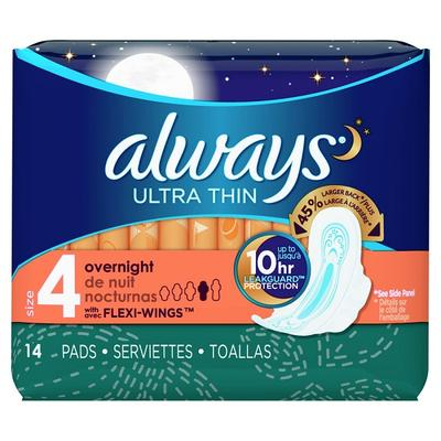 Always Ultra Thin Overnight Pads w/Wings Unscented - 14ct/6pk