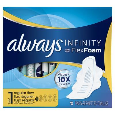 Always INFINITY REGULAR UNS w/FlexFoam Size1 - 18ct/12pk