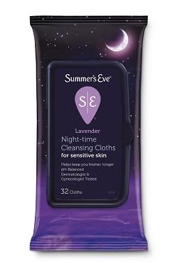 Summers Eve Night-Time Cleansing Cloths Lavender- 32ct/12pk