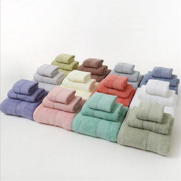 12 Colors 3 Pcs Cotton Absorbent Face Hand Bath Towel Sets Thick Bathroom Towels Cotton Adults