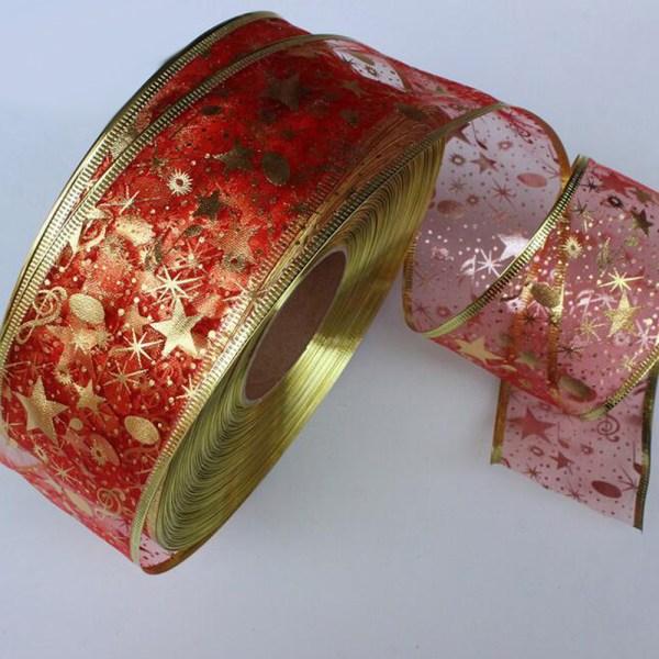 2 Yard Bling Star Printed Organza Ribbon For DIY Christmas New Year Decoration Gift Wrapping Sewing 1