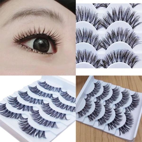 5 pairs 3D Natural Multi Layer Long Eye Lashes hand made fake eyelashes 3D Reusable lashes 4