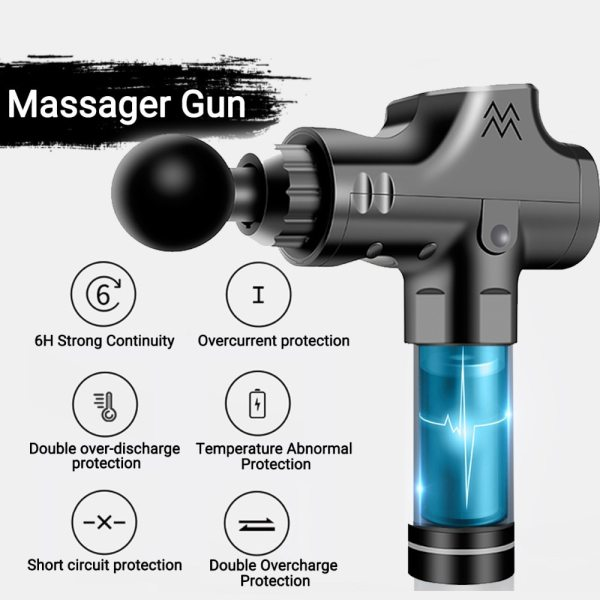 Fascia Gun Cordless Rechargeable Muscle Stimulator Deep Tissue Massager Device Body Relaxation Slimming Shaping Pain Relief 4