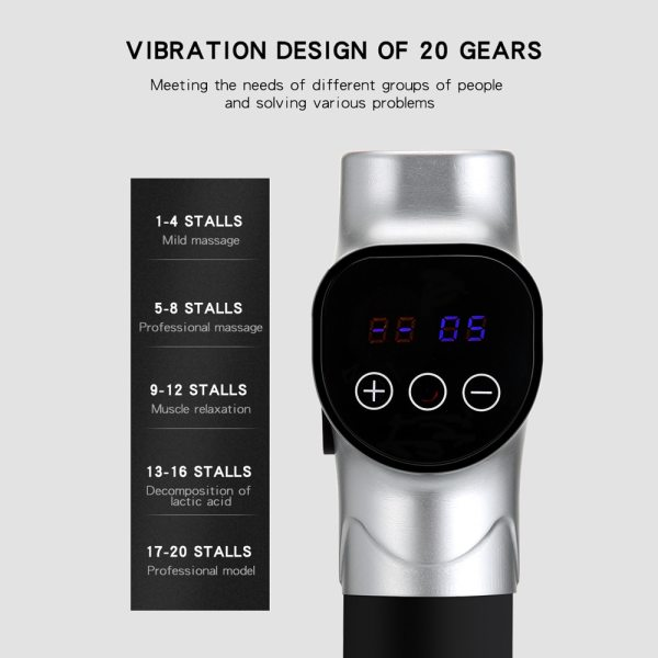 Fascia Gun Cordless Rechargeable Muscle Stimulator Deep Tissue Massager Device Body Relaxation Slimming Shaping Pain Relief 5