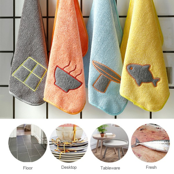 Super Absorbent Microfiber Cleaning Cloth Efficient Hanging Wash Cloth Kitchen Towels for Dishes Household Tools Accessories