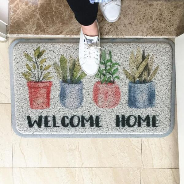 TECHOME Dust Removal Carpet Wire Loop Footpad Lovely Plant Mat in the Hallway Kitchen Bath Non 1