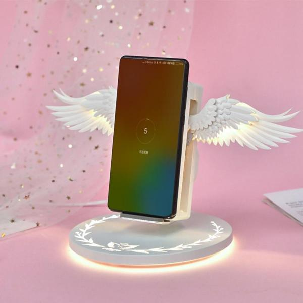10W Fast Charging Wireless Charging Dock Angel Wing Charger Holder Stand Wireless Charger Charge Pad For