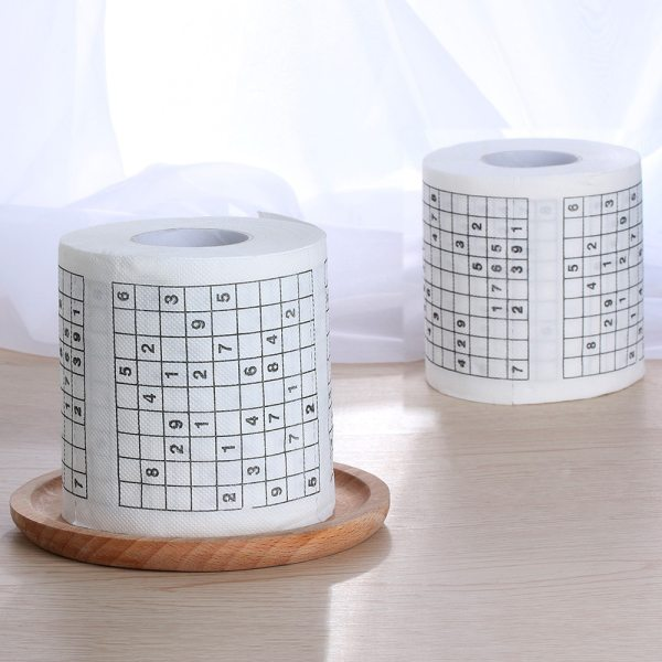 1 Roll 2 Ply Novelty Funny Number Sudoku Printed WC Bath Funny Soft Toilet Paper Tissue