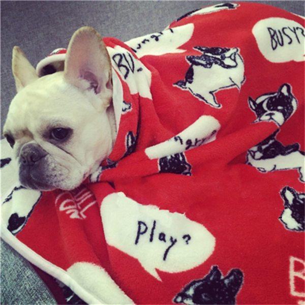 Soft Fleece French Bulldog Blankets Autumn Winter Warm Pet Dog Bed Mat for Dogs Cushion Blanket