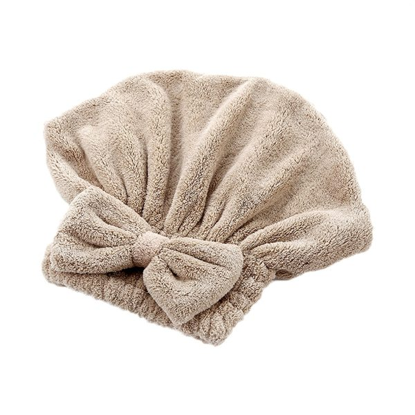 Solid Shower Caps Wrapped Towel Microfiber Bathroom Hats Bow Quickly Dry Hair Hat Women Girls Lady