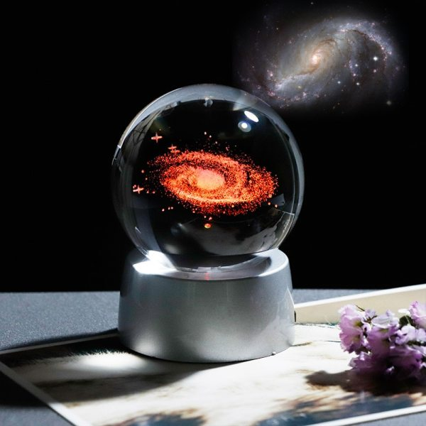 3D Crystal Galaxy Ball Universe Glass Ball with Chargeable LED Base Laser Engraved Home Decoration Accessories