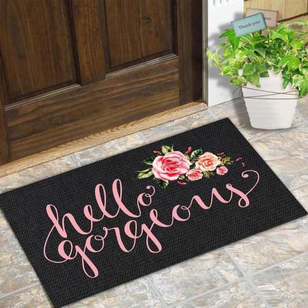 Door Mat Entrance Floor Mat Hello Gorgeous Flower Designed Funny Indoor Outdoor Doormat Non woven Fabric