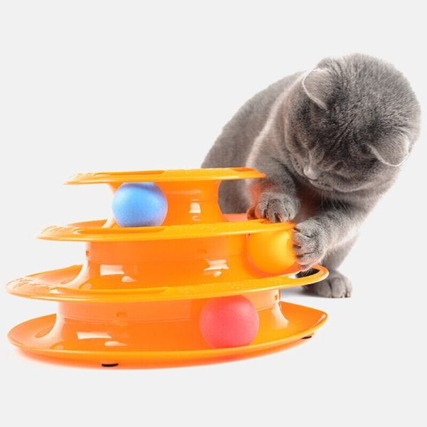 Three Levels pet cat toy Tower Tracks Disc cat Intelligence Amusement triple disc cat toys ball