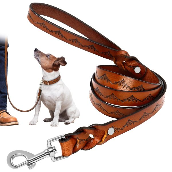 130 cm Real Leather Dog Leash Pet Walking Training Leads Genuine Leather for German Shepherd Golden