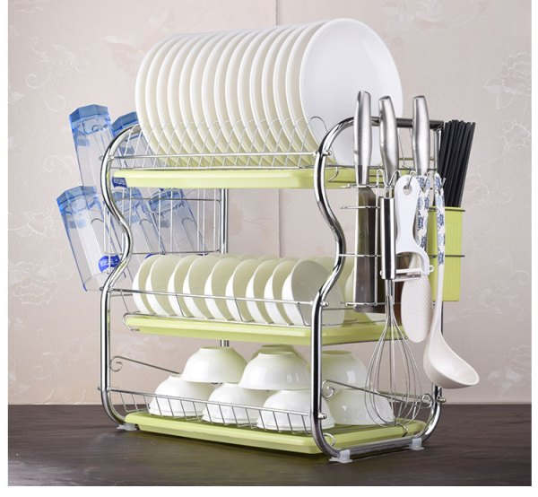 2 3 Tiers Dish Drying Rack Kitchen Washing Holder Basket Plated Iron Kitchen Knife Sink Dish