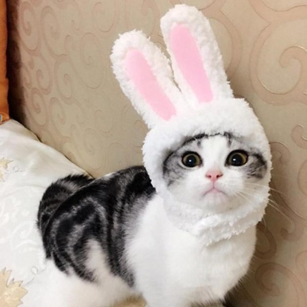 Cute Pet Costume Cosplay Rabbit Ears Cap Hat for Cat Halloween Xmas Clothes Fancy Dress with