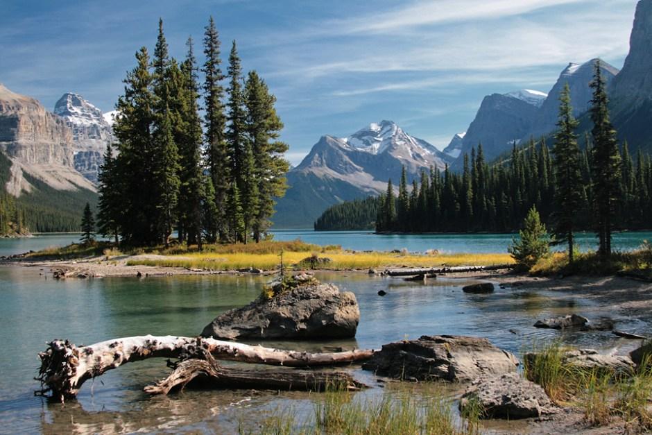 Spirit Island on Maligne Lake in Jasper National Park.